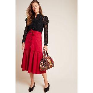 NWT Anthropologie Aisha Flounced Midi Skirt